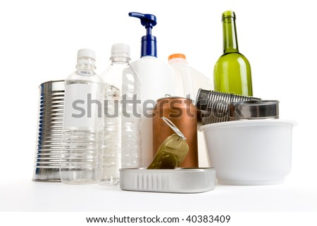 Plastic Bottle, Can, Paper and Glass, concept of recycling - stock photo