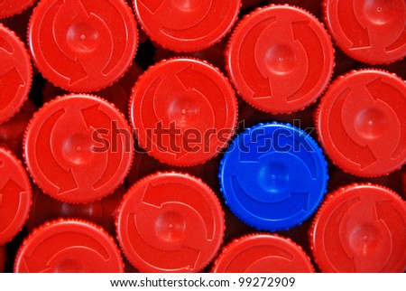 Plastic bottle caps - stock photo