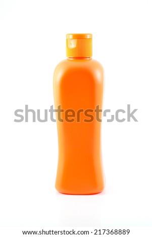 Plastic Bottle Color Orange - stock photo