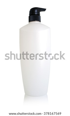 Plastic bottle cream without label isolated on white background, clipping path included. - stock photo