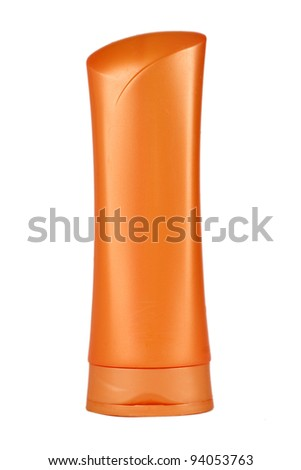 Plastic bottle for lotion, soap, shampoo, sunscreen etc. Isolated on white. - stock photo