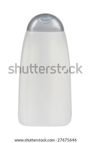 Plastic bottle for lotion, soap, shampoo, sunscreen etc. Isolated on white. Clipping path included. - stock photo