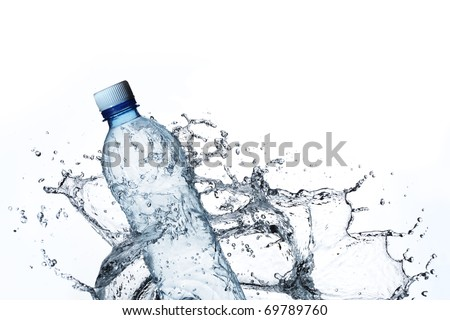 plastic bottle in water splash - stock photo