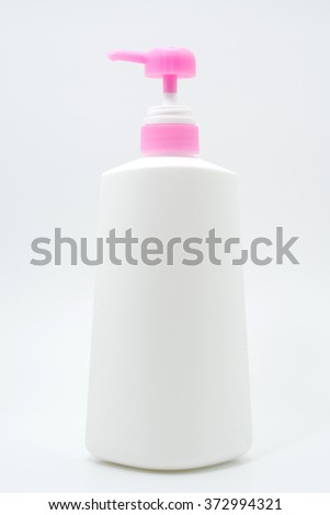 plastic bottle liquid soap and shower gel isolated on white background. - stock photo