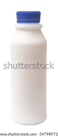 plastic bottle milk isolated on white background