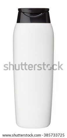 Plastic bottle of body care and beauty products / studio photography of plastic bottle for shampoo - isolated on white background - stock photo