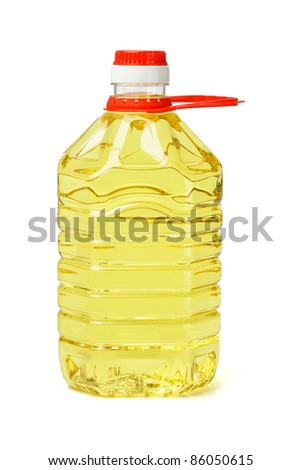 Plastic bottle of cooking oil with handle on white background