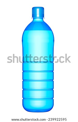 Plastic bottle of drinking water on a white background - stock photo