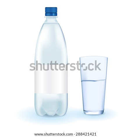 Plastic bottle of drinking water with glass and blank label. isolated on white. Raster version - stock photo