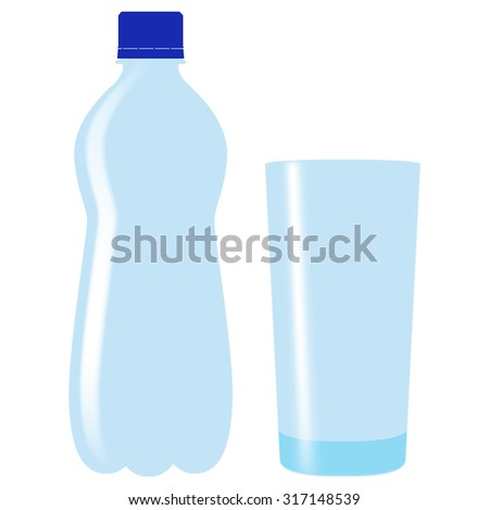 Plastic bottle of drinking water with glass. Raster version. Isolated on white.