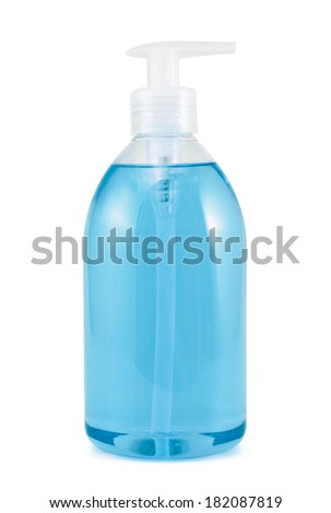 Plastic bottle of the colored transparent liquid soap isolated over the white background - stock photo