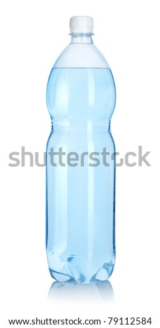 Plastic bottle of water isolated on a white background. Clipping path - stock photo