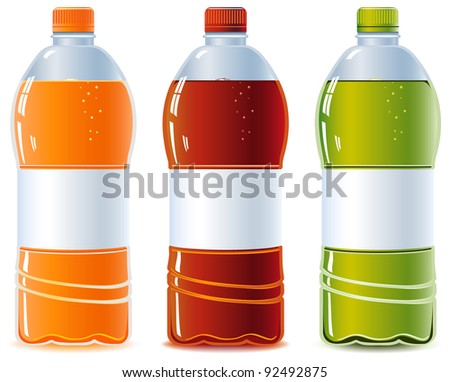 Plastic bottle of water. Orange, Cola and Green Tea. Isolated on white. Empty label. - stock photo