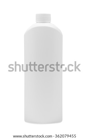 Plastic bottle on a white background, detergent for cleaning and cleaning, nobody.