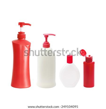 Plastic Bottle pump Of Gel, Liquid Soap, Lotion, Cream, Shampoo on white background - stock photo