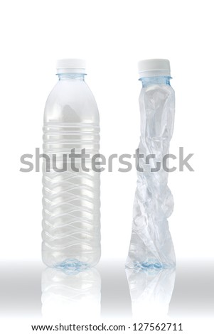 plastic bottle recycled on white background (with clipping path)