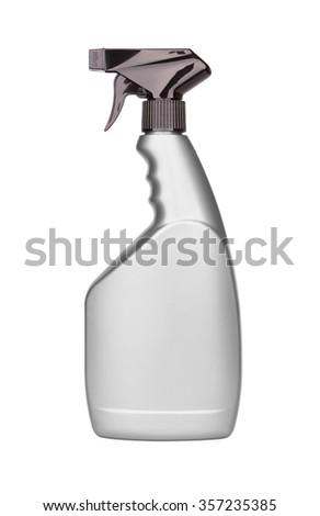 Plastic bottle spray on isolated white background - stock photo