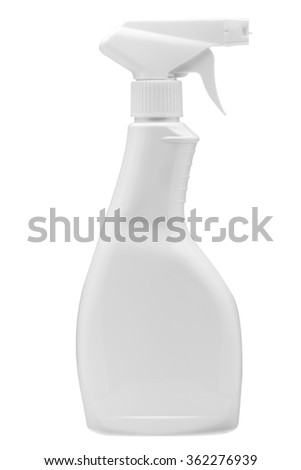 Plastic bottle with a spray on a white background, detergent for cleaning and cleaning, nobody. - stock photo
