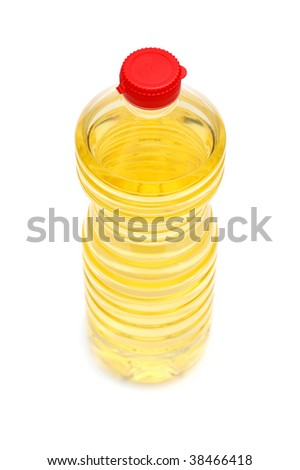 Plastic bottle with a yellow liquid on the white