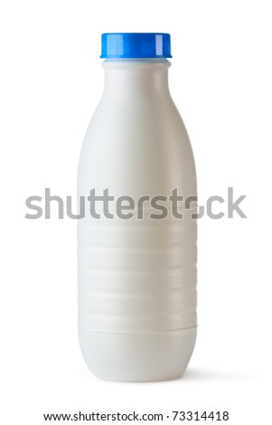 Plastic bottle with blue lid for dairy foods. Isolated on white. - stock photo