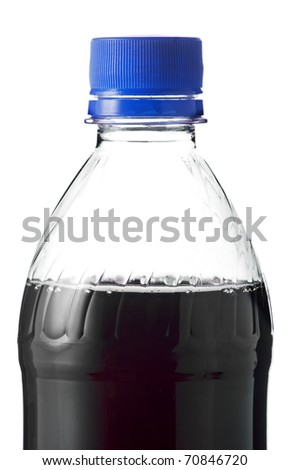 Plastic bottle with cola on a white background - stock photo