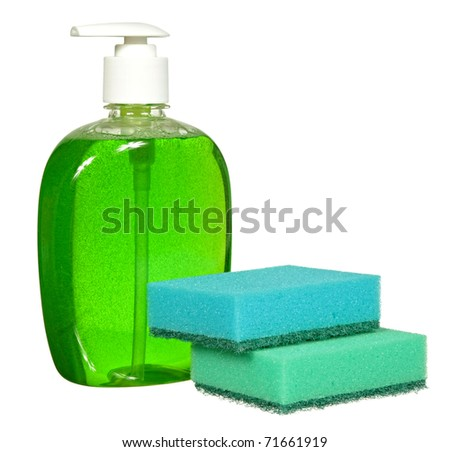 Plastic Bottle with green liquid soap on a white background - stock photo