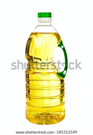 plastic  bottle with oil isolated on white background - stock photo