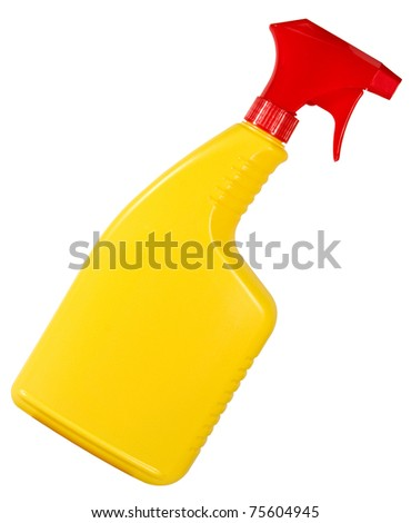 plastic bottle with pump handle isolated over a white background