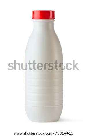 Plastic bottle with red lid for dairy foods. Isolated on white. - stock photo