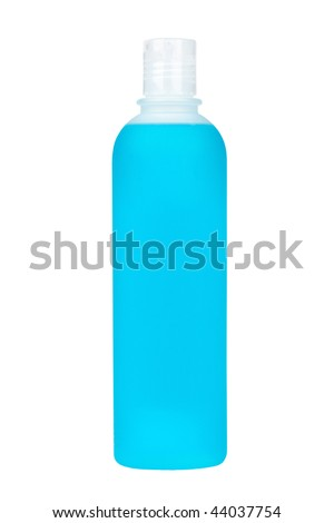 Plastic bottle with soap or shampoo without label isolated on white background - stock photo