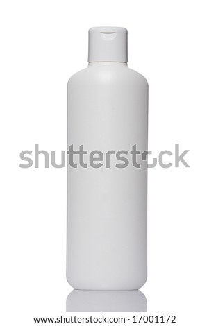 Plastic bottle with soap or shampoo without label reflected on white background