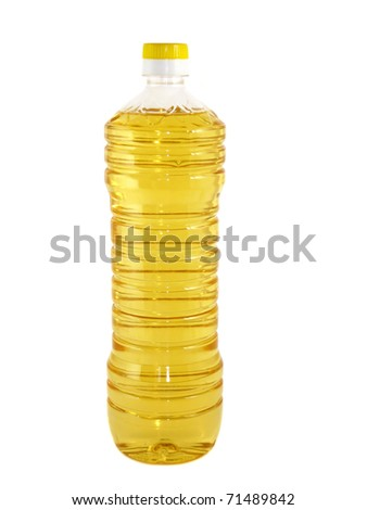 Plastic bottle with sunflower oil isolated on white background - stock photo