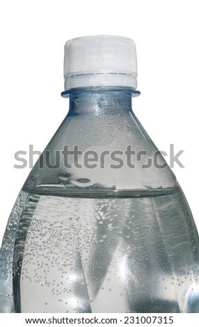 Plastic bottle with water isolated on the white background - stock photo