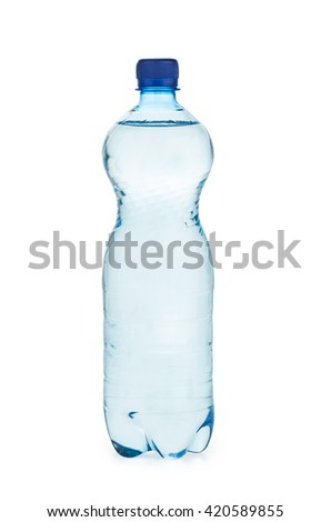 Plastic bottle  with water isolated on white background - stock photo