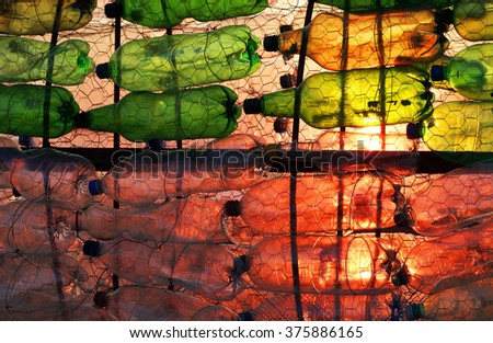 Plastic bottles - abstract background - stock photo