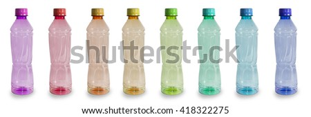 Plastic Bottles colorful isolated with clipping path