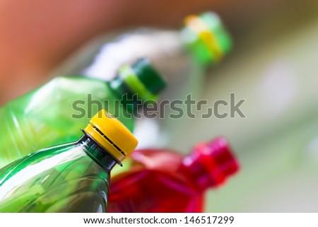 plastic bottles in the trash - stock photo
