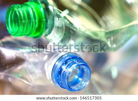 plastic bottles in the trash - stock photo