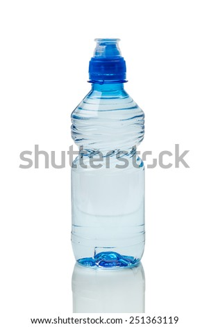 Plastic bottles isolated on white - stock photo