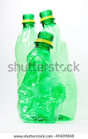 Plastic bottles isolated on white background - stock photo