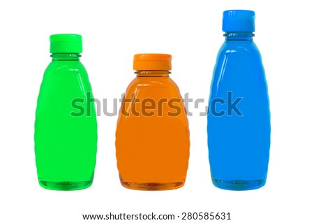 plastic bottles of body care and beauty products - stock photo
