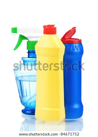 Plastic bottles of cleaning products isolated on white background - stock photo