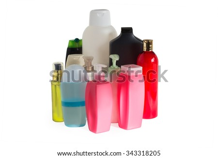 plastic bottles with shampoo, mask for hair, cream and soap with batcher on a white background isolated