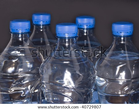 plastic bottles with water