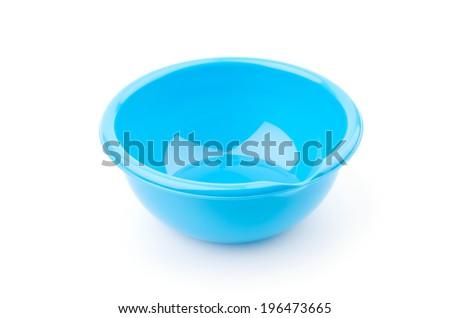 Plastic bowls isolated white background - stock photo