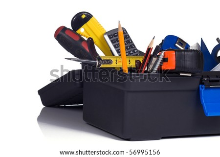 plastic box full of tools - stock photo
