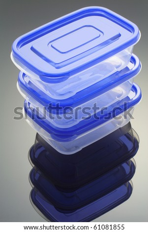 Plastic Boxes with Reflection - stock photo