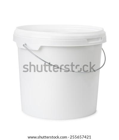 Plastic bucket isolated on white - stock photo