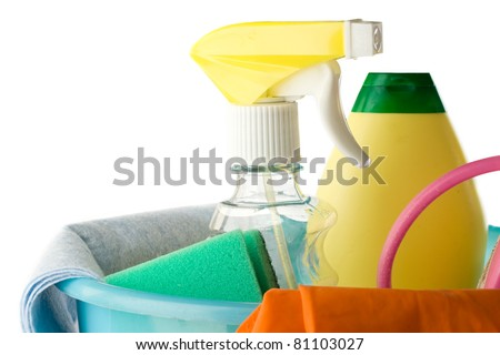 Plastic bucket with cleaning supplies isolated on white background