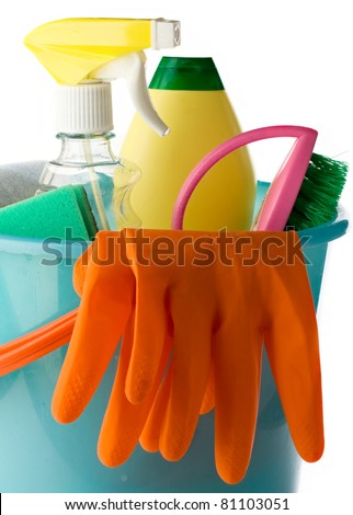 Plastic bucket with cleaning supplies isolated on white background - stock photo